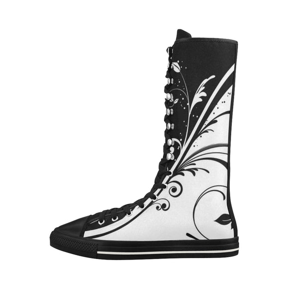 Black-And-White-Pattern-Backgrounds-Desktop Halley Knee High Canvas Women's Boots (Model7013H)