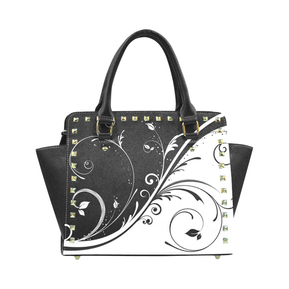Black & White Rivet Shoulder Handbag (Model 1645)