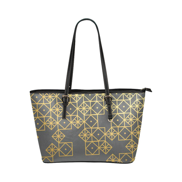 Gold Pattern Leather Tote Bag(Model1651) (Small)