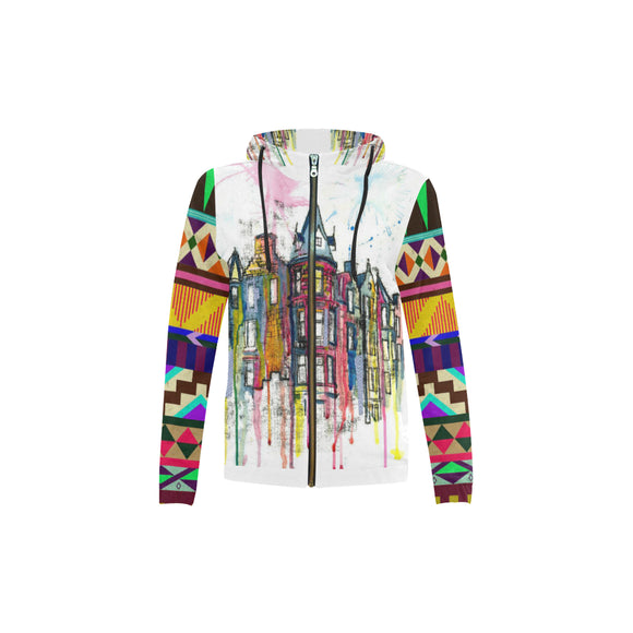 Abstract Kid's All Over Print Full Zip Hoodie (Model H14)