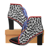 womens eley chunky heel boots Women's Canvas Lace Up Chunky Heel Ankle Boots (Model 054)