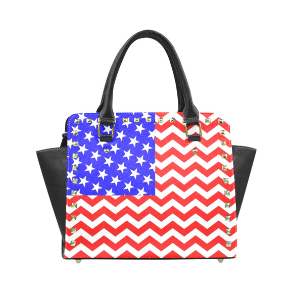 Chevron-Flag Rivet Shoulder Handbag (Model 1645)
