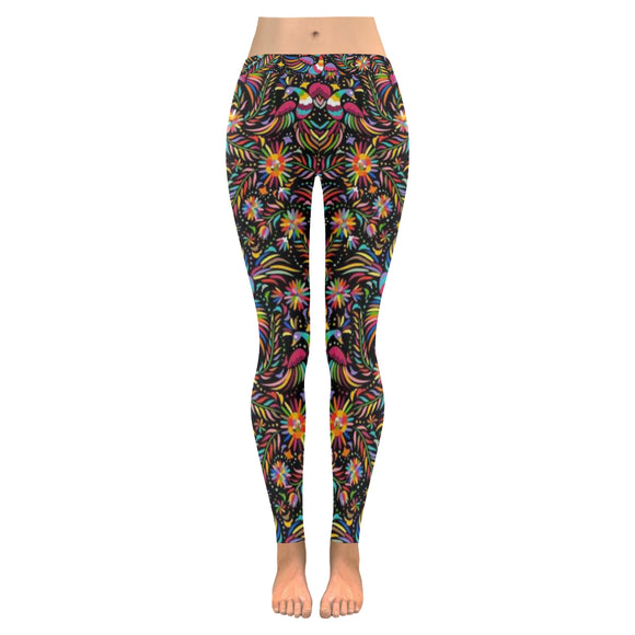 Maxican Floral All-Over Low Rise Leggings (Model L05)