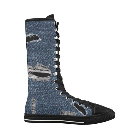 Ripped-Denim Halley Knee High Canvas Women's Boots (Model7013H)