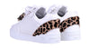 Women's Low-Top White Silk Finish - Leopard Pony Skin