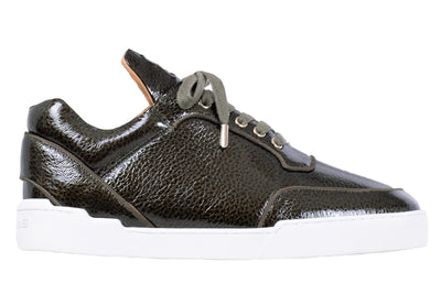 Low-Top DARK OLIVE WASHED PATENT CALFSKIN