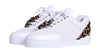 Women's Low-Top White Silk Finish -Leopard Pony Skin