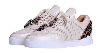 Women's Low-Top Vanilla Cream Silk Finish -Leopard Pony Skin