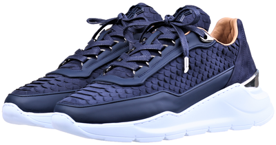 Women's Low-Top BNJ HECTOR RUNNER  NAVY BLUE PYTHON CUT -MATT NAPPA