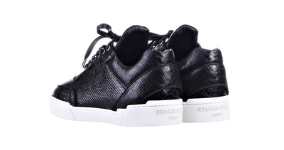 Low-Top BLACK PYTHON EFFECT WASHED CALFSKIN