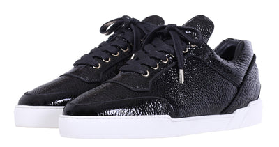 Low-Top BLACK WASHED PATENT CALFSKIN WHITE SOLE