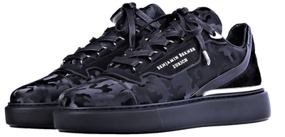 BNJ RAPHAEL Low-Top  ALL BLACK REFLECTIVE CAMOUFLAGE CALFSKIN