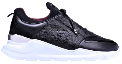 Women's Low-Top BNJ MAGNUS  BLACK PYTHON WASHED CALFSKIN-NEOPRENE