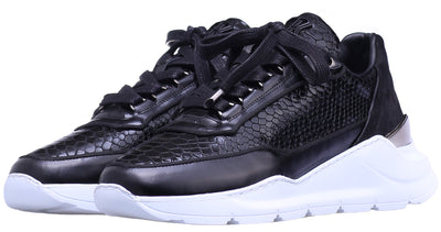 LOW-TOP BNJ HECTOR RUNNER PYTHON EFFECT BRUSHED LEATHER