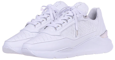 LOW-TOP BNJ HECTOR RUNNER ALL WHITE PYTHON CUT NAPPA