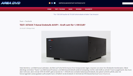 AreaDVD Tests and compares the IOTAVX AXVP1 Power Amplifier