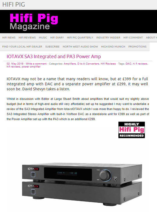 Hifi Pig  - Reviews the IOTAVX SA3 and PA3