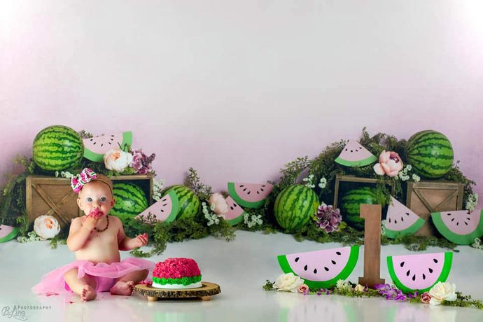 Kate Birthday Watermelon Decoration Cake Smash Backdrop Designed by Megan Leigh Photography