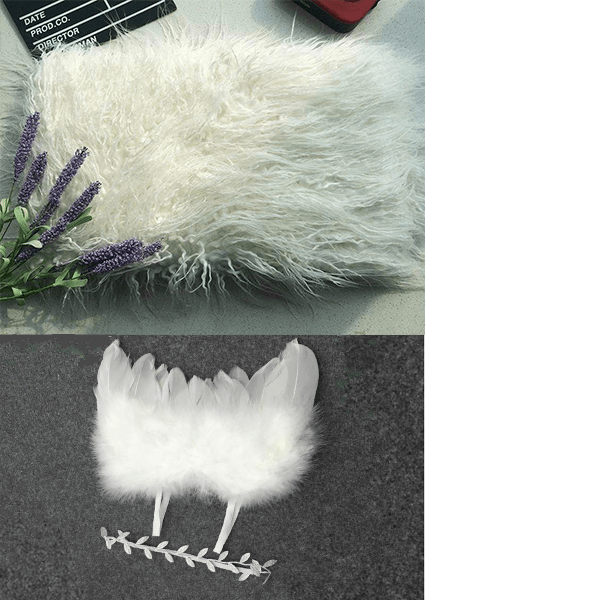 Kate White Flokati Rugs + Angel Feather Wings with Headband Band newborn photo prop