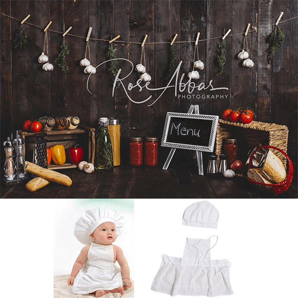 Kate Cake Smash Wood Kitchen Backdrop+Baby Outfit Chef Hat Apron