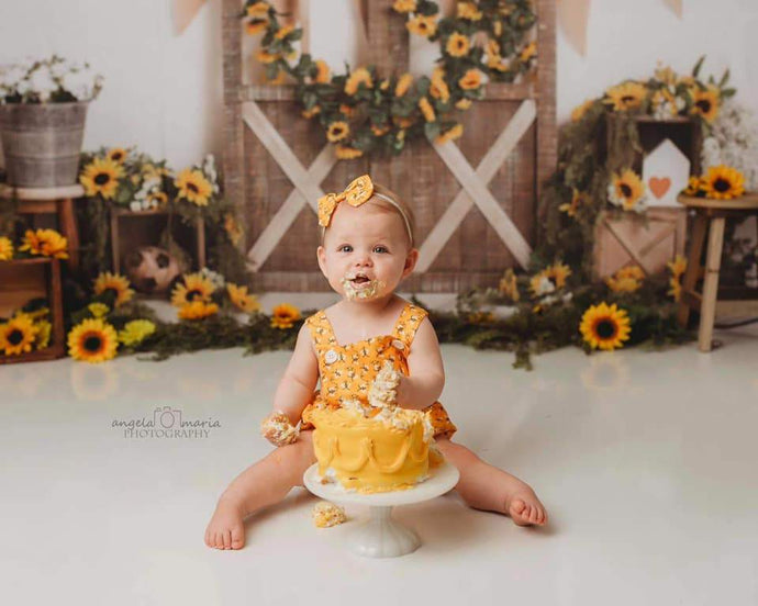 Kate Spring Sunflower Barn Door Decoration Backdrop Designed by Megan Leigh Photography