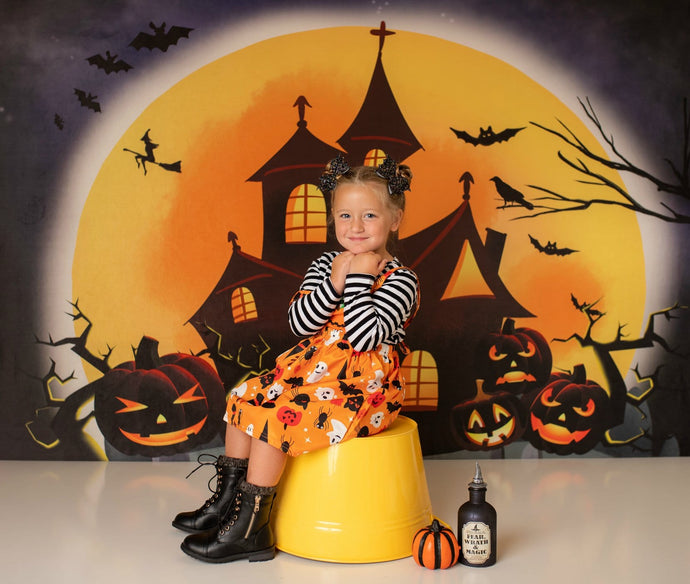 Kate Halloween Backdrop Pumpkins Witch House Designed by Chain Photography