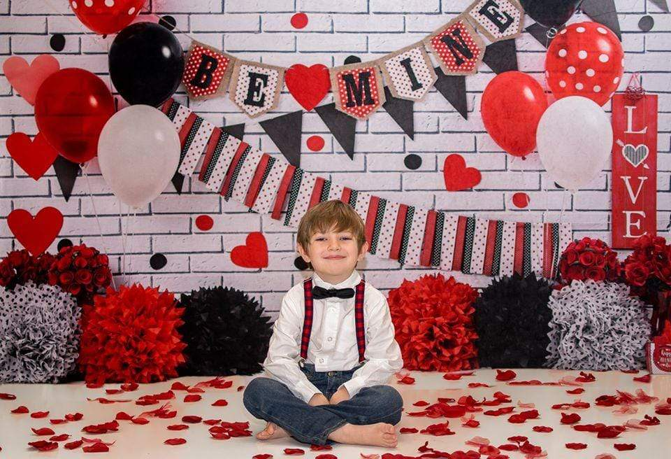 Katebackdrop:Kate Mouse Valentine Black-Red Backdrop for Photography