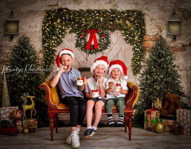Kate Christmas Backdrop Brick Wall Door & Xmas Trees Designed By JS Photography