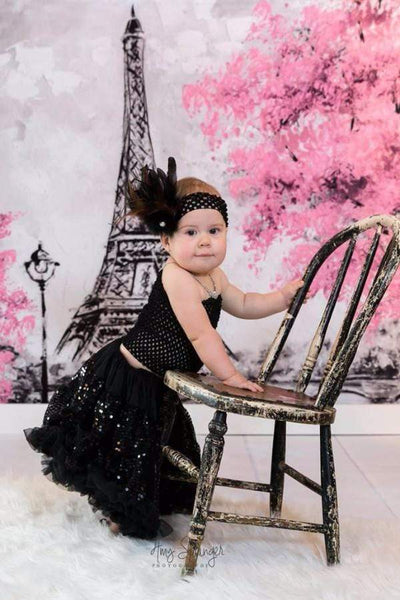 Katebackdrop:Kate Red Flower Tree Hand Painting Children Backdrop Eiffel Tower Paris