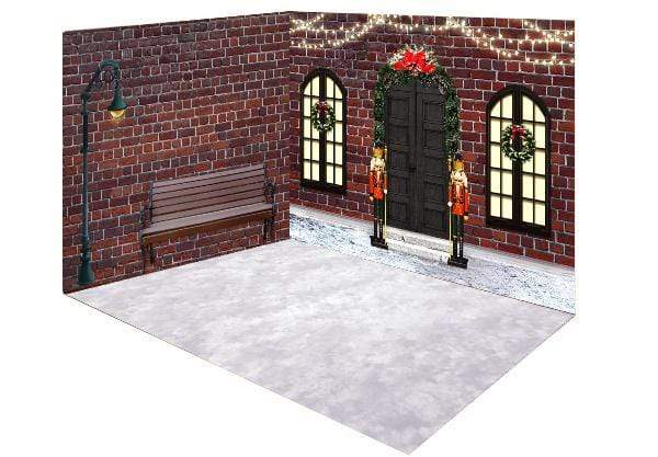 Katebackdrop:Kate Christmas Shop Night Street Room Set