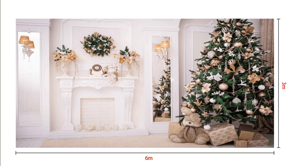 Katebackdrop:Kate Christmas Tree Decoration Fireplace Backdrop Studio Props