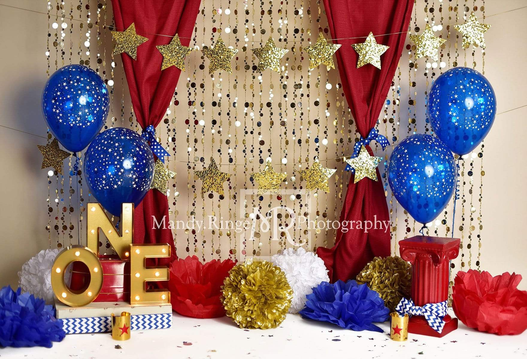 Load image into Gallery viewer, Katebackdrop£ºKate One-der Woman First Birthday Balloons Backdrop for Photography Designed by Mandy Ringe Photography