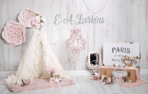 Kate Vintage Vibes Flower Paris Backdrop for Photography Designed by Erin Larkins