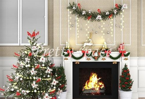Kate Xmas Backdrop White Fireplace Christmas Tree Designed by Prettyspace