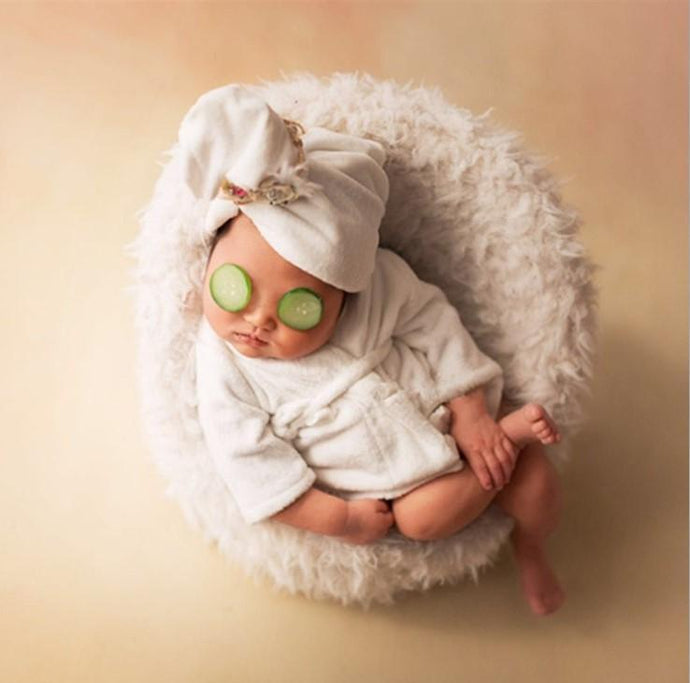White Newborn Mini Sofa+Baby Outfit Bathrobe Newborn Photo Props