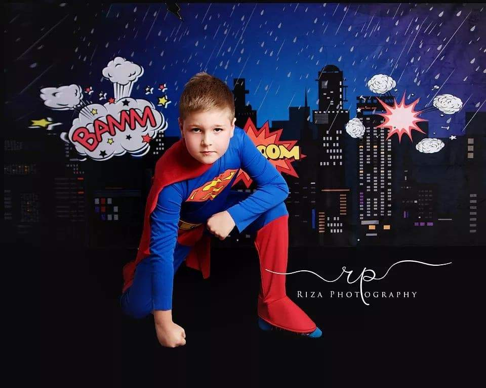 Kate Boom super hero city night children backdrop