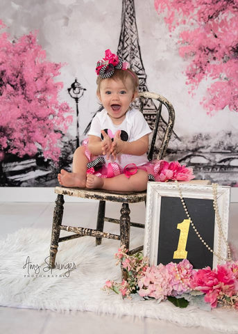 Kate Red Flower Tree Hand Painting Children Backdrop Eiffel Tower Paris