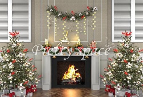 Kate Xmas Backdrop Fireplace Christmas Trees Designed by Prettyspace