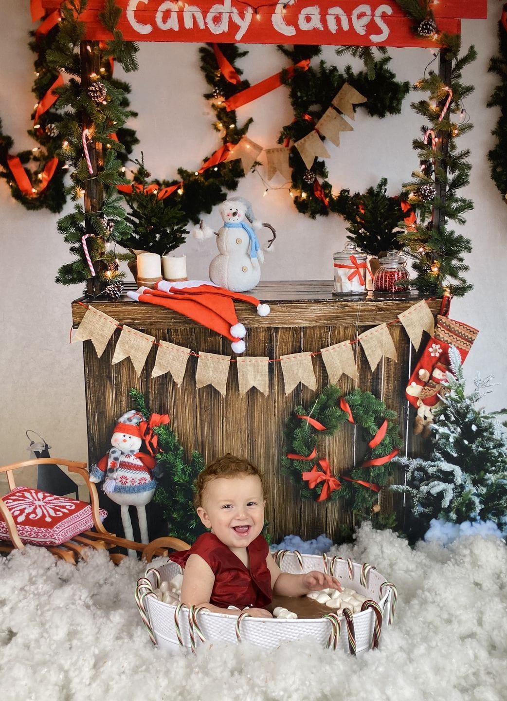 Load image into Gallery viewer, Kate Christmas Candy Canes Children Backdrop hot cocoa for Photography