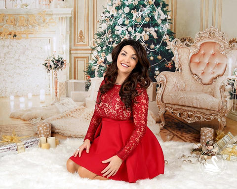 Kate Christmas Three parlor backdrop for holiday session