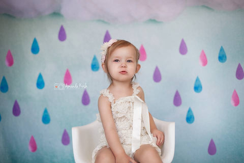 Kate Clouds And Colored Rain Baby Shower Backdrop for Photography designed by Jerry_Sina