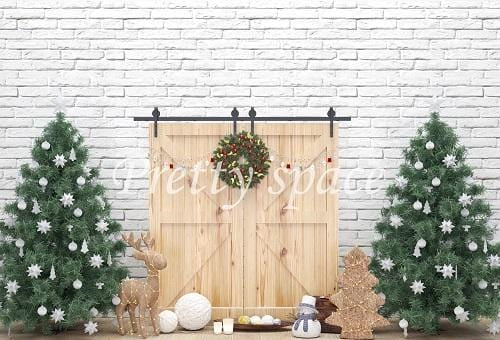 Kate Xmas Backdrop Wooden Door with Christmas Trees Designed by Prettyspace