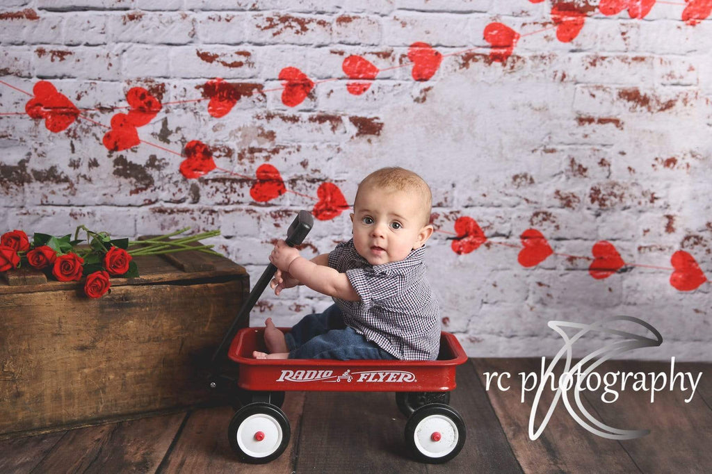 Katebackdrop£ºKate white brick wall with red hearts Valentine's Day Backdrop for Photography designed by Jerry_Sina