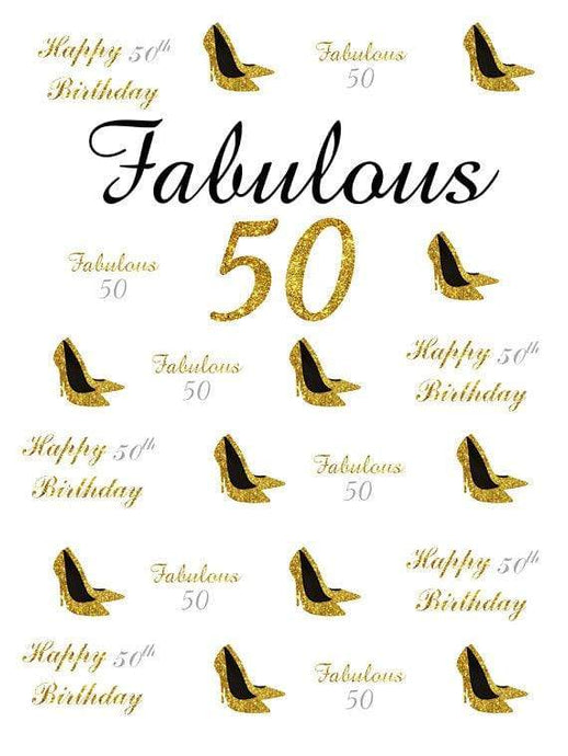 Katebackdrop£ºKate 50th Birthday Gold Custom Step and Repeat Photo Backgrounds for Party