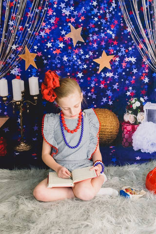 Kate blue red star backdrop for cake smash Backdrop designed by Studio Gumot