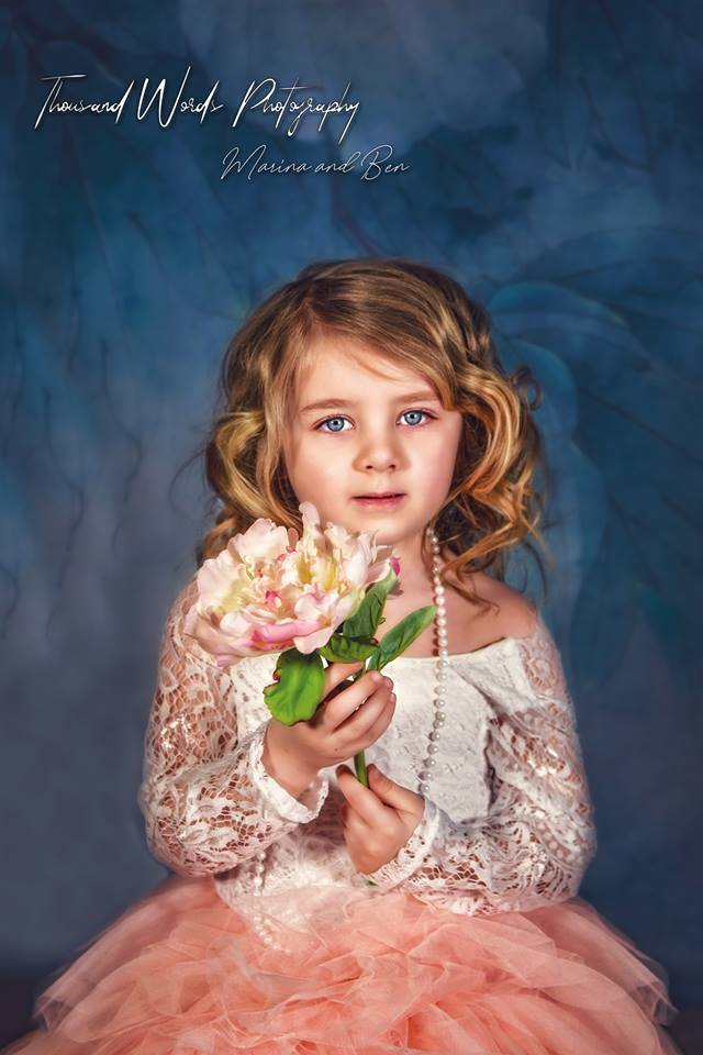 Load image into Gallery viewer, Kate Blue Flower Backdrop Photography For Children
