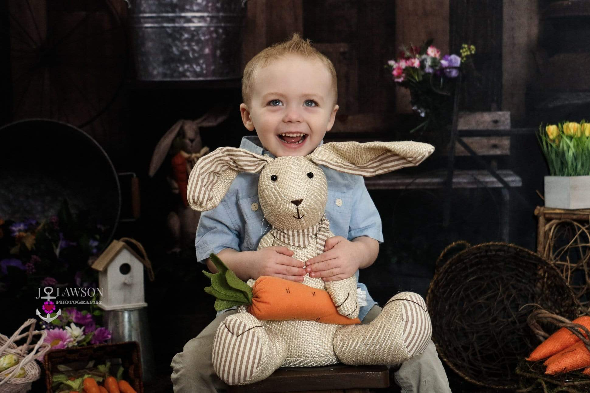 Load image into Gallery viewer, Katebackdrop£ºKate Wood Background with Rabbits Decorations Easter Spring Children Backdrop for Photography Designed by Erin Larkins