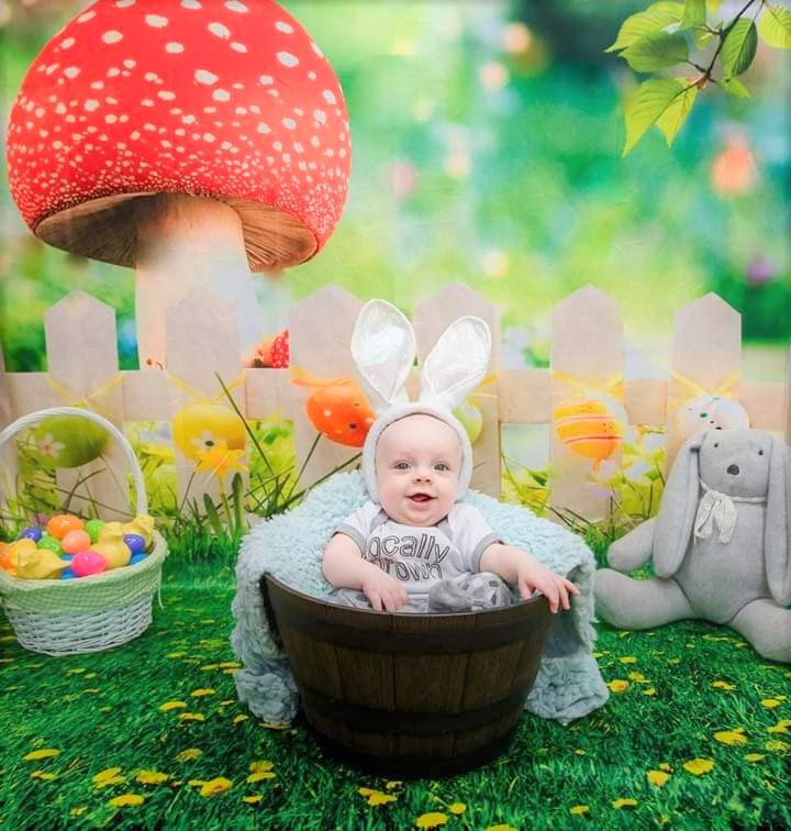 Katebackdrop£ºKate Easter Backdrops Natural Scenery Spring Photography Yellow Flowers Colorful Eggs Photo Background