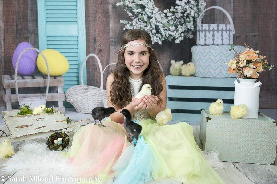 Katebackdrop£ºKate Wood Wall Flowers Easter Decorations Spring Backdrop for Photography Designed by Tyna Renner