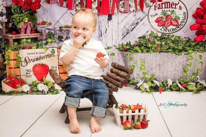 Katebackdrop£ºKate Summer Strawberry White Wooden Board With Banners Backdrop